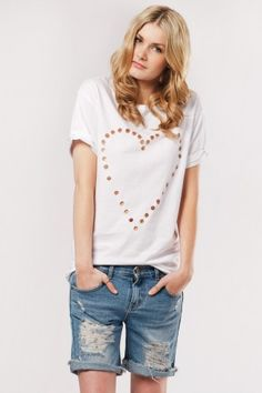 Olive clothing: White punched heart tee