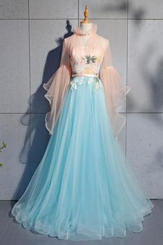 Evening dresses with sleeves - Blue tulle lace long prom dress, blue tulle evening dress – Evening dresses with sleeves Evening Dress Long, Evening Dresses With Sleeves, Blue Evening Dresses, Prom Dresses Blue, Sexy Dresses, Fashion Dresses, Prom Gowns, Long Dresses, Vintage Prom Dresses