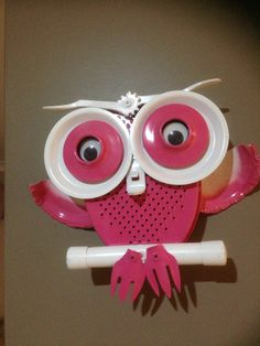 Owl made from recycled materials