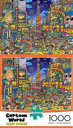 Other Vintage Puzzles 730: Buffalo Games Cartoon World: Dave Garbot Times Square - 1000 Piece Jigsaw Puzzle -> BUY IT NOW ONLY: $46.22 on eBay!