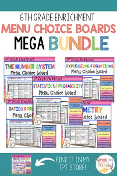 This choice board bundle is a simple, year-long differentiated tool for ALL 6th grade standards.