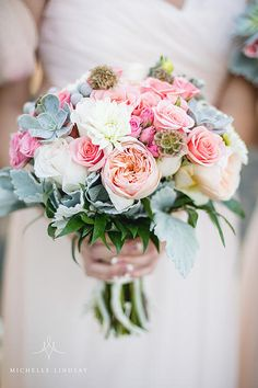 The pink, peach and blush bridal bouquet was accented with succulents and dusty millers. Planning, Design and Décor by Erika Darden Events, Virginia and Washington DC Wedding and Event Planners.
