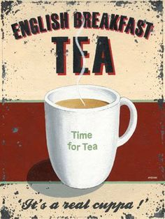 "English Tea Metal Sign by OMSC. $16.25. Rounded corners with holes for easy hanging. Glossy, full-color, enamalized imaged baked onto thick, 24-gauge steel. This sign measures 9"" by 12"". Eco-friendly process, hand-made in the USA. Ships in Ploy-bag for complete protection. This sign features art by Martin Wiscombe. Born and raised in Lyme Regis, Dorset, Martin studied illustration and design in the west country, then went on to spend more than 15 years working in London. After..."