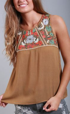 thml: olive you embroidered tank top