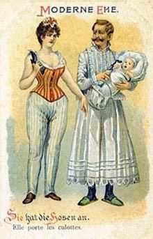 """Modern wedlock - she wears the pants!"" So you see what happens to the poor man..."