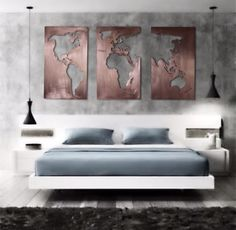 4x8 three panel brushed copper map of the world