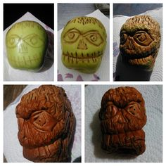 How to make apple shrunken heads for Halloween. Just make some cuts in a regular apple and leave out in the sun for a few weeks.