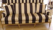 French Settee with  Turned legs, nail trim, wide black and white stripe cotton sateen...Fantastic!  http://pacificheightsplace.com/frsest.html