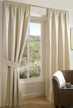 Spumante Pencil Pleat Ivory Ready Made Curtains
