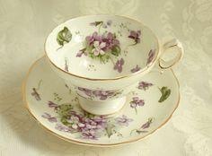 Vintage Hamersley Victorian Violets Fancy Teacup Wide mouth Pedestal 1940s