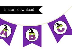 Witch Banner,Witch Party Banner, Witch Bunting, Printable Banner, Halloween Banner