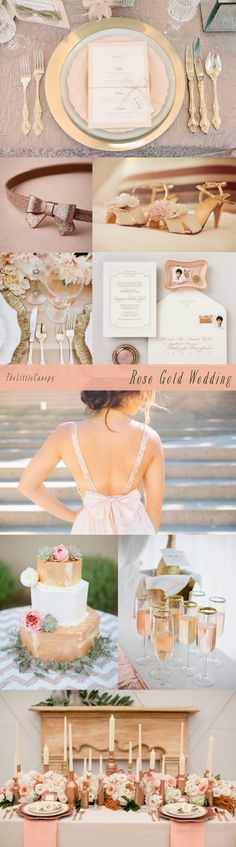 Rose Gold Theme Wedding Inspiration Board Ummm that looks like the back of your dress Rose Gold Theme, Gold Wedding Theme, Vintage Wedding Theme, Rose Wedding, Wedding Themes, Wedding Colors, Fall Wedding, Dream Wedding, Wedding Decorations