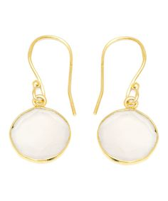 White Agate & Gold Round Drop Earrings