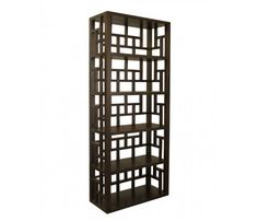 Mandarin Bookcase  The exotic Mandarin bookcase features classical Asian furniture designs and beautiful intricate fretwork. Manufactured from reclaimed teak and stained to a rich brown finish.  $795