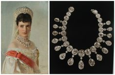 Left: Portrait of Empress Maria Fyodorovna, by Vladimir Makovsky, 1900. Right: From A. E. Fersman's catalog of the Russian crown jewels (published by The People's Commissariat of Finances, Moscow, in 1925): one of the diamond necklaces that Maria Fyodorovna can be seen wearing in the portrait. Image via Elena Horvathova on LiveJournal (http://eho-2013.livejournal.com/62382.html).