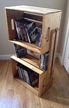 Light Brown Wooden Crate 3 Shelf Bookcase Shelving Floor Stand - Wood Shelves for Books, DVD's, Storage, Bathroom, Night Stand on Etsy, $55.00