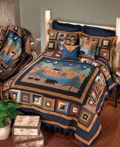 Midnight Bear uses deep blues, greens and browns. Mama bear and family take a stroll under the night sky on the center panel while the border is a traditional log cabin design in complementary colors. Bears, trees and cabin are hand appliqued and border i Log Cabin Designs, King Quilt Sets, Rustic Bedding, Chic Bedding, Pillows Online, Textiles, Quilted Bedspreads, Twin Quilt, Bath