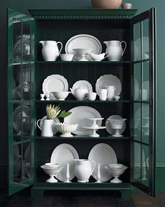 White dishes ~ my favorite! They go with every table decor and always looks great.
