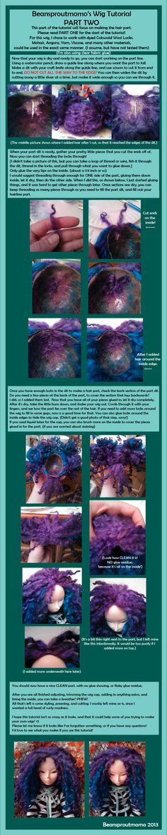 BJD Wig Tutorial PART TWO by BeanSproutMomo.deviantart.com on @deviantART