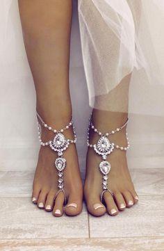 Barefoot sandals scarlet design beach wedding sandals foot j Barefoot Wedding, Beach Wedding Sandals, Bridal Sandals, Beach Wedding Footwear, Boho Wedding Shoes, Barefoot Beach, Boho Sandals, Wedding Beach, Beach Sandals
