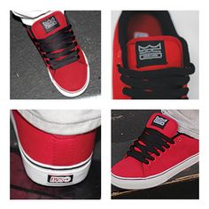 Feel like a pro in these exclusive WSS low profile skate shoes from DVS for $54.99.  #DVS #exclusive #red #skate #skater #skateboard