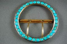 Victorian Belt Buckle Persian Blue Turquoise Gold Gilt Silver 19th C. ANTIQUE