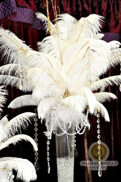 Big and Beautiful Feather's Centerpiece for the Great Gatsby by Sullivan Botello Events 20s greatgatsby