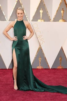 Rachel McAdams arrived wearing a gown by August Getty.