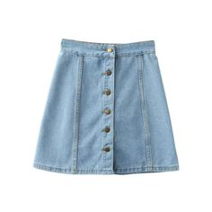 Light Blue Empire Waist Buttons Front Denim Skirt (130 GTQ) ❤ liked on Polyvore featuring skirts, bottoms, light blue denim skirt, denim skirt, empire waist skirt, light blue skirts and button front skirt