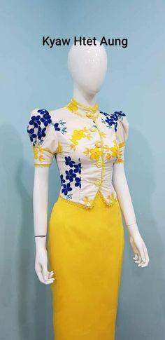 Beautiful Casual Dresses, Stylish Dresses, Elegant Dresses, Traditional Dresses Designs, Traditional Outfits, Myanmar Dress Design, Myanmar Traditional Dress, Baby Frocks Designs, Stylish Dress Designs