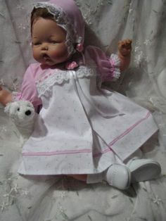 "thumbelina 19"" dress/rompers/bonnet ""Pink Suprise"" by Kathryn doll clothes"