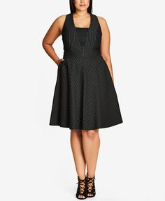 City Chic Trendy Plus Size Pinstriped Fit & Flare Dress