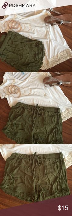 Olive green lace trimmed shorts! Gorgeous color and very versatile! NWT! Very cute and trendy! Has drawstring Shorts