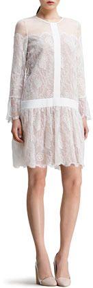 Chloé Drop-Waist Chantilly Lace Dress, White