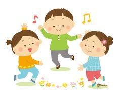 ダンスを踊る小さな子供たちのイラスト(ソフト)