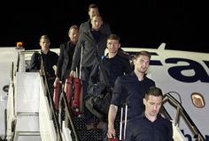 Touch down: Germany's players (front to back) Miroslav Klose, Toni Kroos, Thomas Muller, a...