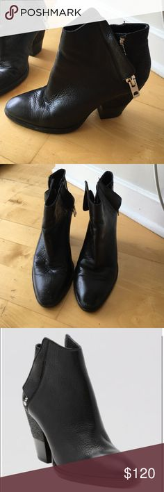 Dolce Vita Western Bootie Black leather bootie with silver zipper and almond toe. Gently used -- great condition ! Dolce Vita Shoes Ankle Boots & Booties