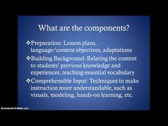 The SIOP Model - YouTube. good video for my self-assessment after lessons to ensure I'm following SIOP