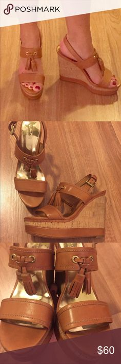 Tan Coach Tassel Wedges So cute and in great condition! Size 8.5. Be sure to check out my other items! Coach Shoes Wedges