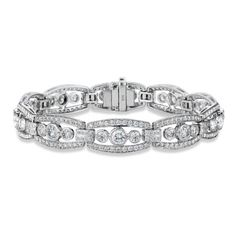 Vintage Art Deco Diamond Bracelet in 18kt White Gold (6.50 CTW) ❤ liked on Polyvore featuring jewelry, bracelets, accessories, womens jewellery, art deco bracelet, white gold bracelet, art deco jewelry and bracelet bangle