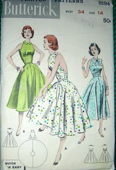 Vintage 50's Butterick Sewing Pattern 8194 - Uncut Halter Sundress with Full Skirt - Quick 'N Easy. $46.00, via Etsy.