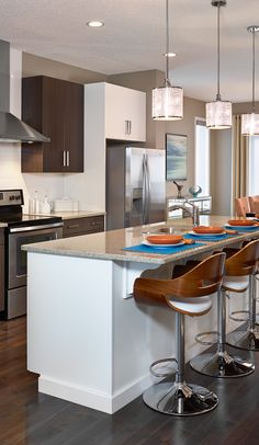 Kitchen from the Arista model, two tone cabinets and quartz counter tops. Calgary News, Morrison Homes, Two Tone Cabinets, Luxury Estate, Quartz Countertops, Counter Tops, Home Builders, Townhouse, Kitchen Ideas