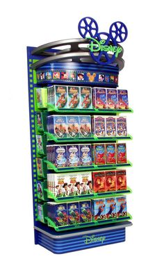 Disney K-Mart endcap display.  This endcap was designed to merchandise both DVD and VHS products. The look was designed around a new translucent tray system and 3D display that's unlike any other fixture on the market.  Client: Disney Consumer Products