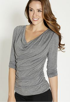 the drape neck top with 3/4 length sleeves in charcoal (original price, $26) available at #Maurices