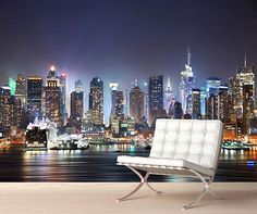 New York Night Skyline Wall Mural Photo Wallpaper Picture Self Adhesive 1047 | Wall Decals & Stickers | Home Decor - Zeppy.io