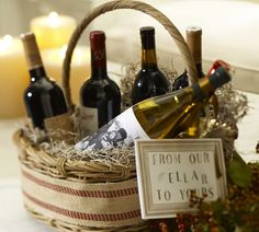 Great gift basket idea, love the sign.