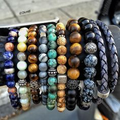 Customized beaded bracelets from natural stones #2kmtl #jewelry