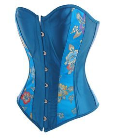 This beautifully sophisticated turquoise corset top comes complete with highly unusual floral tapestry panels. The combination of clear, striking turquoise color and refreshing, unique design means that you'll be appreciated wherever you wear it.   There is no trim so the corset can be worn as lingerie under other clothing, only to be revealed at the right moment. It's lightweight and comfortable- a perfect summer corset.