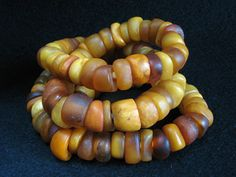 Antique natural amber beads strand. Mali   vividvault