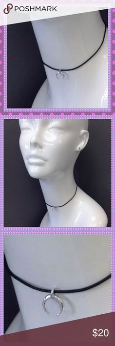 "Black Rope Choker with Silver Crescent Pendant Trendy Bohemian & Beautiful,  Black Faux Leather Rope Choker with a Silver Crescent Pendant, Lobster Hook Closure, Approx. 11.5"" Long with 3.5"" Extender Boutique Jewelry Necklaces"
